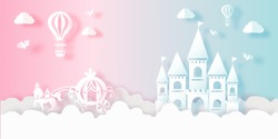 Cute Fairy tale Pastel Balloons Clouds Unicorn Pumpkin Horse Castle Carriage Vectors illustration