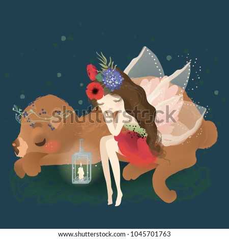 Cute fairy with beautiful wings, flowers, floral bouquet and whimsical lantern dreaming with woodland animal bear in wreath