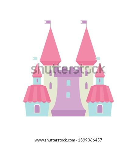 Cute Fairytale Magic Castle Fortress, Colorful Fantasy Kingdom Cartoon Vector Illustration