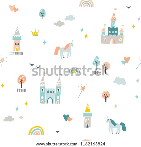 Cute fairytale pattern with castles and unicorns