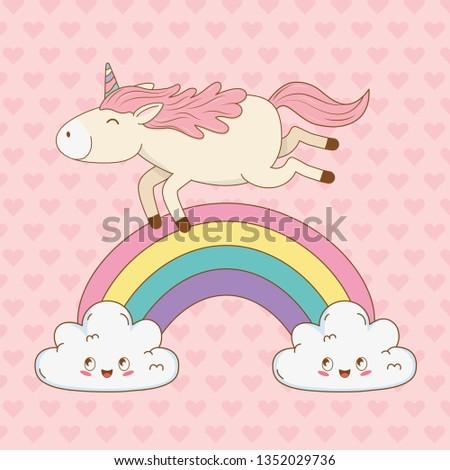 cute fairytale unicorn in clouds with rainbow