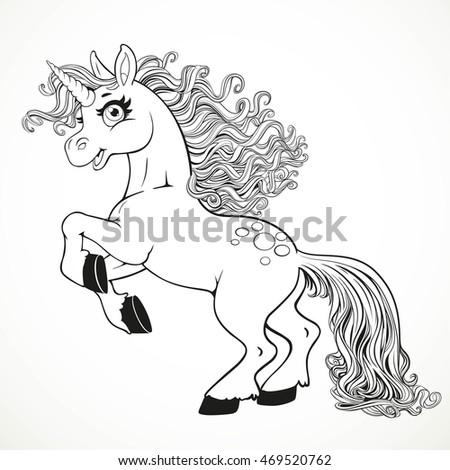 cute fairytale unicorn rearing