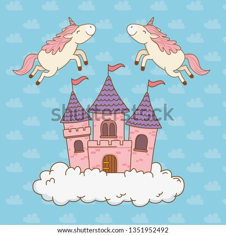 cute fairytale unicorns with castle in the clouds