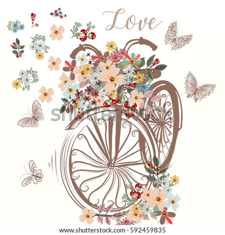Cute fake hand drawn bicycle with bunch of spring flowers