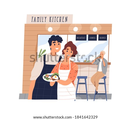 Cute family cafe with happy small business owners working. Young couple holding a plate with breakfast meal and a client eating dish. Vector illustration in flat cartoon style Photo stock ©