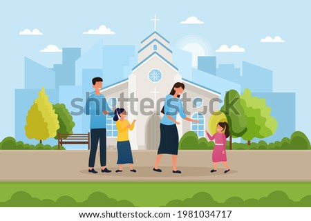cute family is standing near
