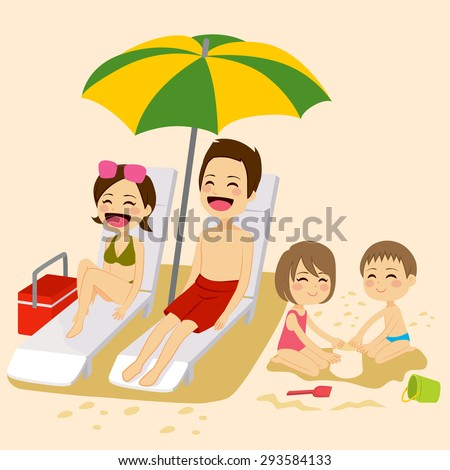 cute family on beach sunbathing