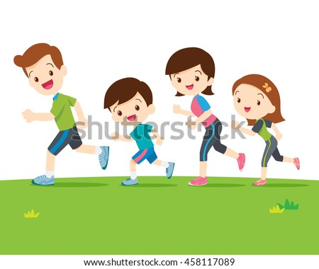 Cute family runing together.Dad son mom daughter are jogging.