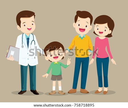 Cute family visiting the doctor. Vector illustration of a dad mom and son in doctor's office.