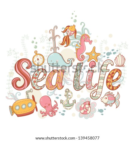 cute fantasy summer sea card