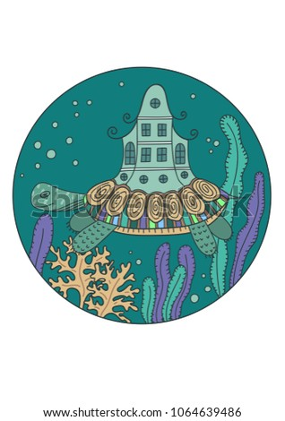 cute fantasy turtle with house