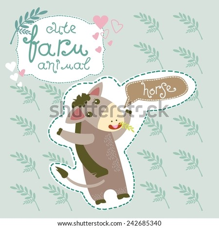 Cute Farm Animal. Horse. Vector. Set. Illustration.