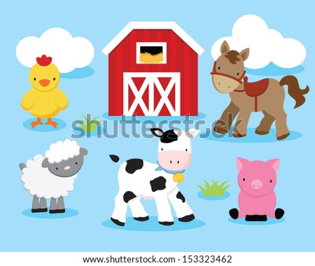 Cute Farm Animals Set