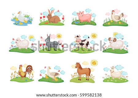 Cute Farm animals set. Illustration with cartoon animals on green meadow. Vector illustration.