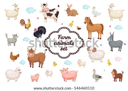 cute farm animals set in flat
