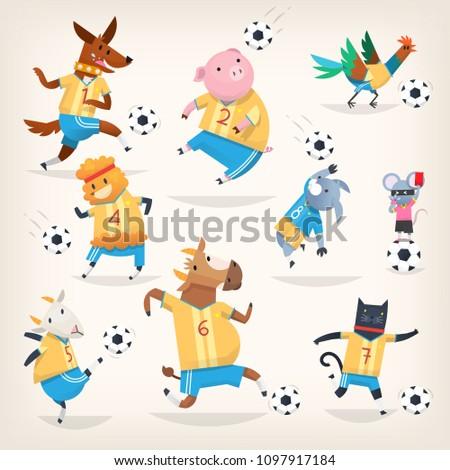 cute farm animals team playing