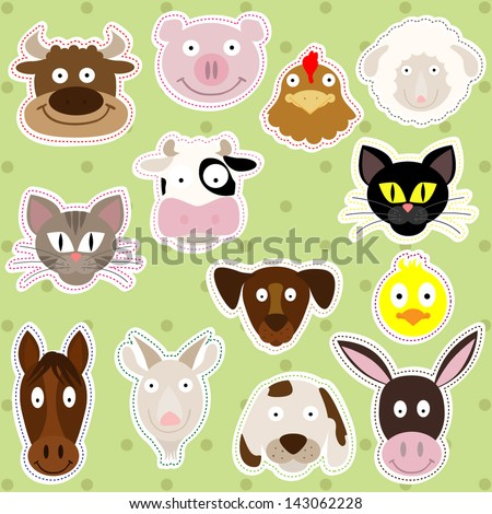 Cute Farm Animals - Vector Illustration Set