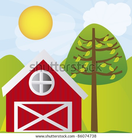cute farm with tree and mountains over landscape background. vector