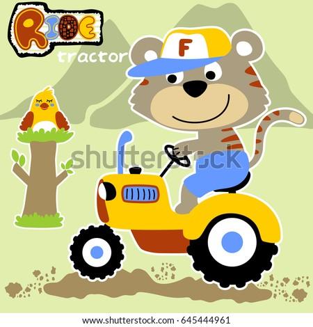 cute farmer ride a tractor