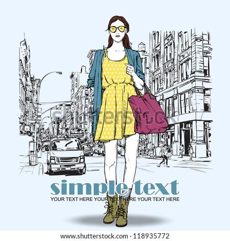 cute fashion girl on a street...