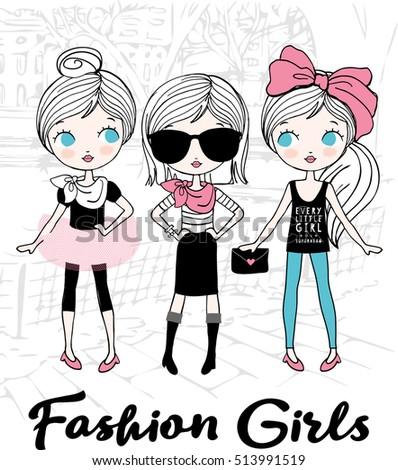 cute fashion girls shopping in