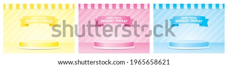 Cute fashionable product display podium with awning and striped wall 3d illustration vetor set in girly pastel color theme consists of yellow pink and blue. Stockfoto ©