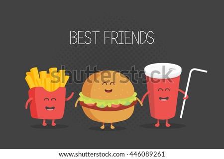 cute fast food burger  soda