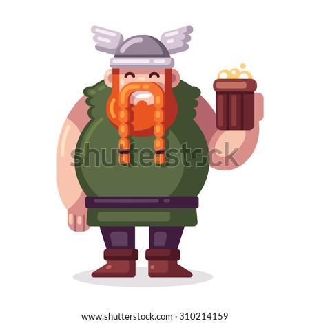 cute fat cartoon viking with