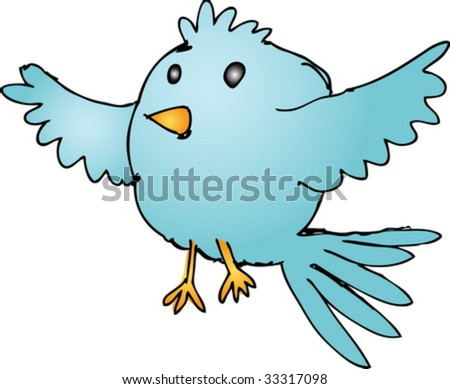 Cute fat rounded cartoon flying bird wild animal illustration vector