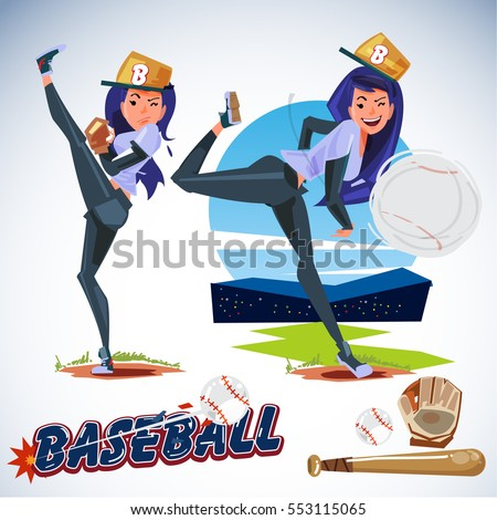 cute female baseball player in actions. typographic. icon elements. sport girl concept - vector illustration