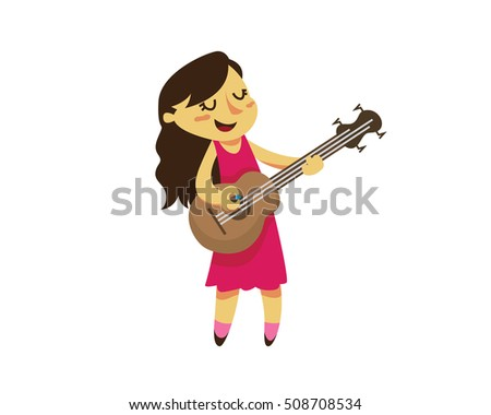 cute female guitarist character