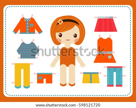 cute female paper doll with the