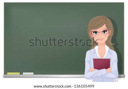 Cute female school teacher holding spiral notebook at blackboard in classroom. File contains Gradient mesh, Gradients, Transparency. - stock vector