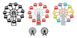 Cute Ferris wheel illustration icon vector set