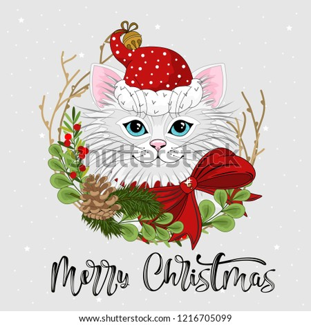 cute festive cat with the