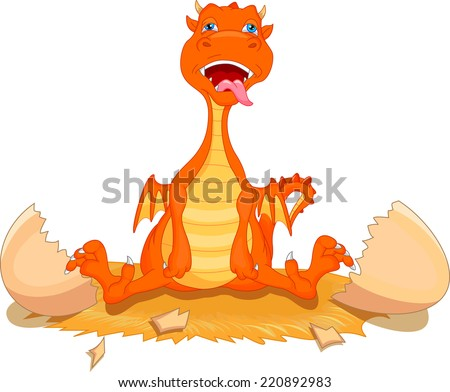 cute fire dragon cartoon