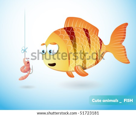 cute fish and frightened worm