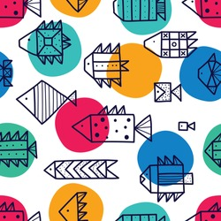 Cute fish and polka dots.  Line vector seamless pattern. Can be used in textile industry, paper, background, scrapbooking.