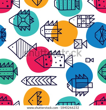 Cute fish and polka dots.  Line vector seamless pattern. Can be used in textile industry, paper, background, scrapbooking. stock photo