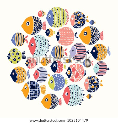 cute fish around motif with