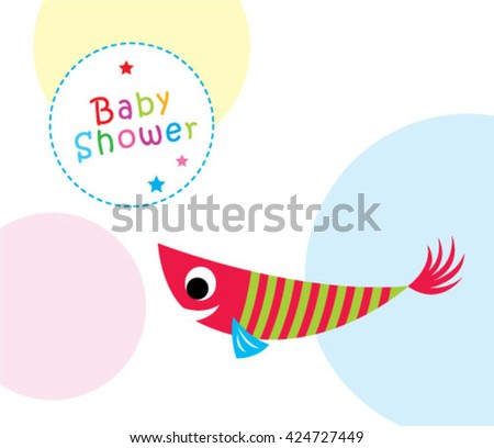 cute fish baby shower greeting