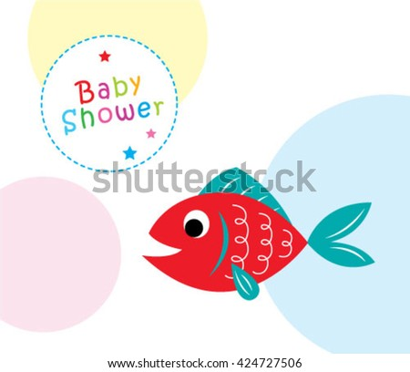 cute fish baby shower greeting