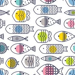 Cute fish, cute polka dots. Line vector seamless pattern.
