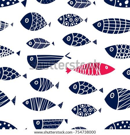 cute fish. cute seamless...