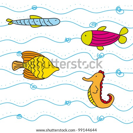 Cute Fish Drawings Cute Fish Into Sea