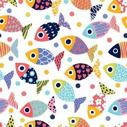 Cute fish.  Kids background.