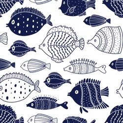 Cute fish. Kids background. Seamless pattern. Can be used in textile industry, paper, background, scrapbooking.