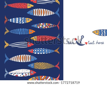 Cute fish.  Kids background. Seamless pattern. Can be used in textile industry, paper, background, scrapbooking. stock photo