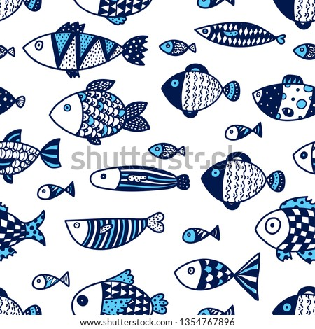 Cute fish. Vector seamless pattern. stock photo