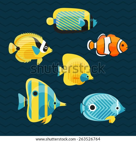 cute fishes set  vector